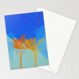 Line Floral On Pastel Sky Stationery Cards