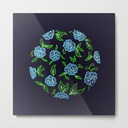 Blue Wildflower Pattern Circular Design Metal Print