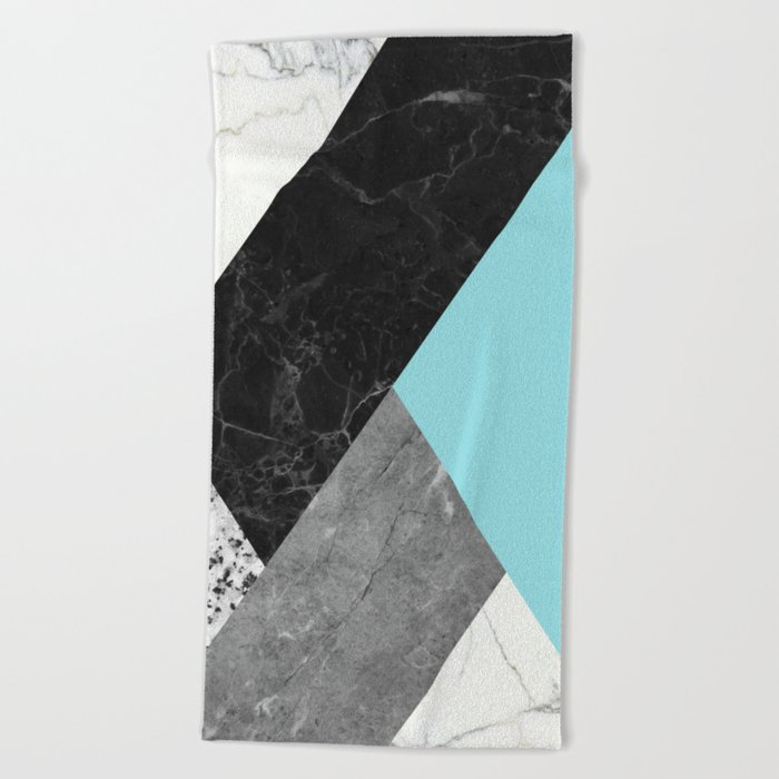 Black and white marbles and pantone island paradise color Beach Towel