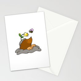 Brown mole with a garden flower bee Stationery Cards