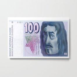 100 Old Swiss Francs Note  Metal Print