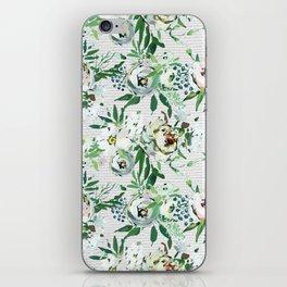 Elegant botanical blush pink pastel green watercolor floral iPhone Skin