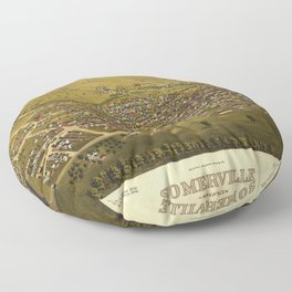 Aerial View of Somerville, New Jersey (1882) Floor Pillow