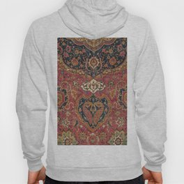 Persian Medallion Rug VII // 16th Century Distressed Red Green Blue Flowery Colorful Ornate Pattern Hoody