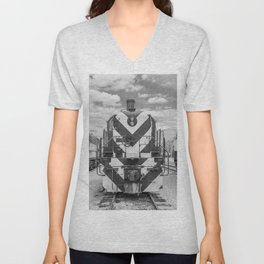 Chicago and North Western Diesel Electric ALCO Locomotive Train Engine 1689 Black and White Photography Unisex V-Neck