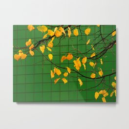 Autumn leaves with green tile-background Metal Print
