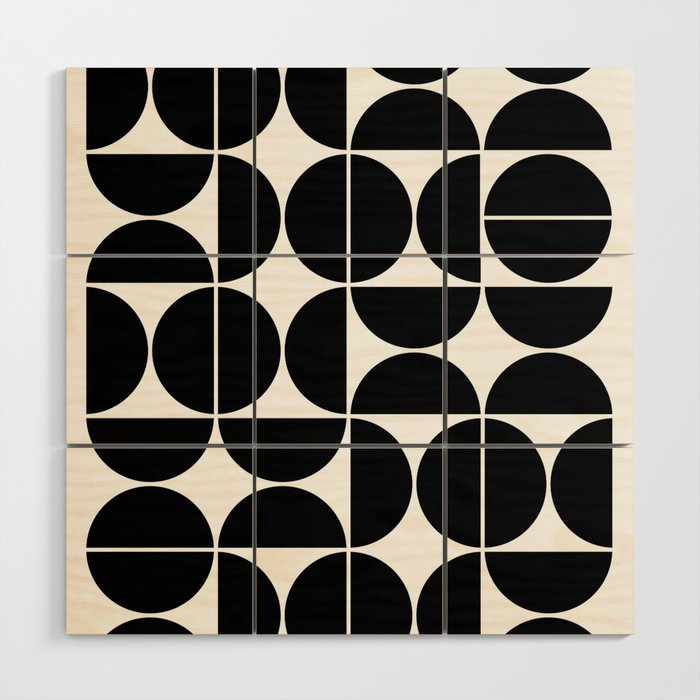 Mid Century Modern Geometric 04 Black Wood Wall Art By