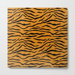 Orange and Black Tiger Stripes Metal Print