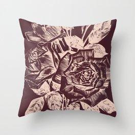 Burgundy in Rose Gold Throw Pillow