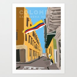 Cartagena de Indias, Colombia Travel Poster Art Print
