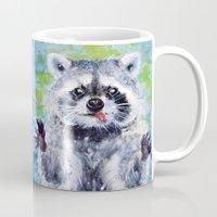 raccoon Mugs featuring Raccoon by Alina Rubanenko