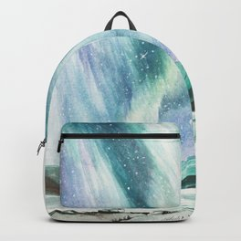 Aurora (northern lights) watercolor painting Backpack