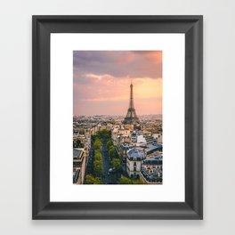 Sunset at Eiffel Tower (France) Framed Art Print