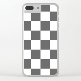Large Checkered - White and Dark Gray Clear iPhone Case
