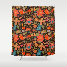 Funny khokhloma pattern Shower Curtain