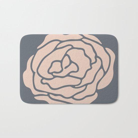 Rose Vintage Rose Pink on Pebble Gray Bath Mat