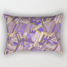 Gold and Rose Quartz Tribal Pattern on Purple Rectangular Pillow