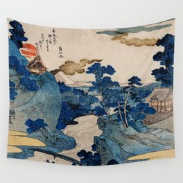 Cottages On Cliffs Traditional Japanese Landscape Wall Tapestry