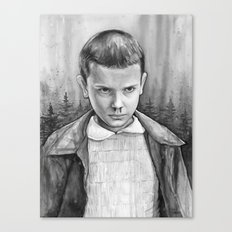 Stranger Things Eleven Watercolor Painting Black and White Canvas Print