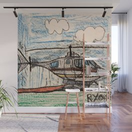Fire Quenching Helicopter Wall Mural