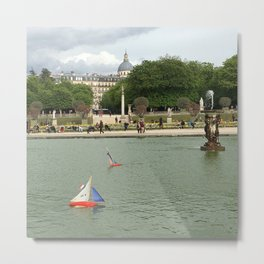 Toys Boats in the Fountain Metal Print