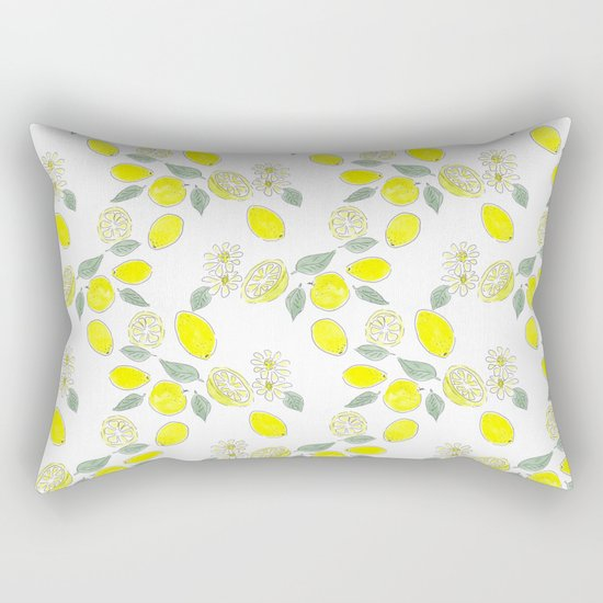 Watercolor . Lemon . Rectangular Pillow