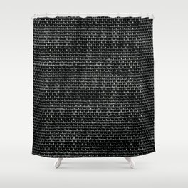 Black Burlap texture  Shower Curtain