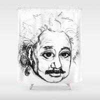einstein Shower Curtains featuring Chibi Einstein by Hazel Bellhop