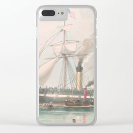 Vintage Illustration of The President's Steamship (1840) Clear iPhone Case