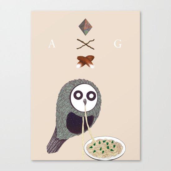Spaghetti Owl (Diptych) Canvas Print