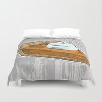 pie Duvet Covers featuring Pumpkin Pie by Katy V. Meehan