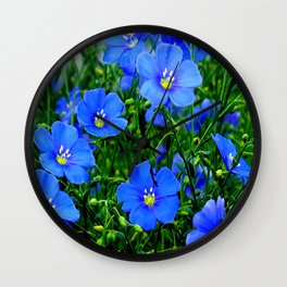Dainty Blue Flax Linum Flowers Wall Clock