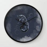 sea horse Wall Clocks featuring Sea-horse by fujer