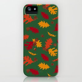 Fall Leaves and Acorns on Green iPhone Case