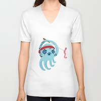 samurai V-neck T-shirts featuring samurai by Maria Jose Da Luz