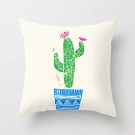 Linocut Cactus #2 in a pot Throw Pillow