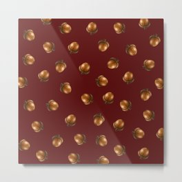 Acorn Pattern-Maroon Metal Print