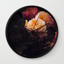 Bouquet Of Sunset Yellow orange Purple Flowers Wall Clock