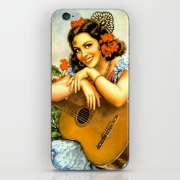 Mexican Calendar Girl with Guitar by Jesus Helguera iPhone Skin