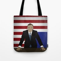 house of cards Tote Bags featuring House Of Cards - Frank Underwood by Tom Storrer