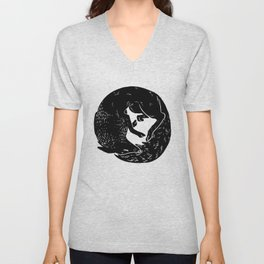 black and white thoughts Unisex V-Neck