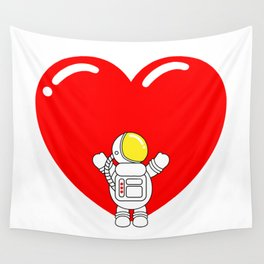 Astro Heart | Love is All Around | Astronaut Hug Love | pulps of Wall Tapestry