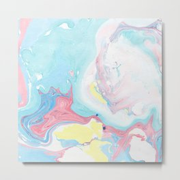 Modern elegant pink  teal yellow watercolor marble pattern Metal Print