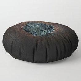 Vintage bronze lion door knocker Floor Pillow
