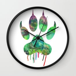 Watercolor - Wolf paw Wall Clock