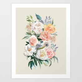 Bouquet With Roses Art Print