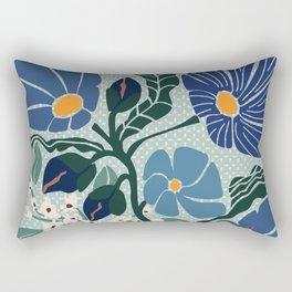 Klimt flowers light blue Rectangular Pillow