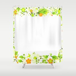 Frame from abstract leaves, flowers and butterflies Shower Curtain