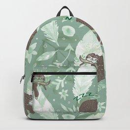 Lazy Boho Sloth On green Background Backpack