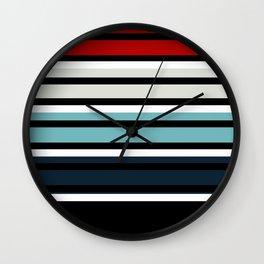 Pattern stripes . Blue , red , white , gray , black . Wall Clock